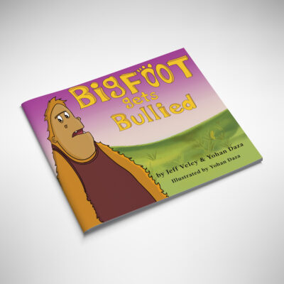 Bigfoot gets bullied soft cover mockup